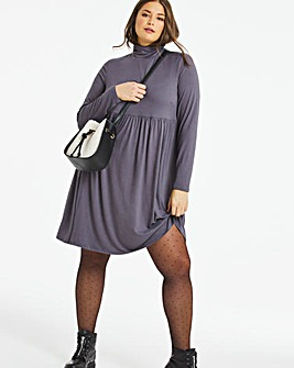 Dark Grey Supersoft Roll Neck Smock Dress