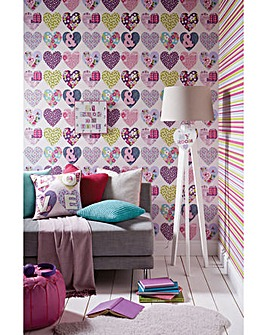 Arthouse Purple Hearts Wallpaper