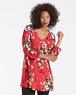 Red Print Balloon Sleeve Longline Top
