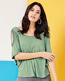 Green Embellished Cold Shoulder Top