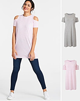 2 Pack Cold Shoulder Tops