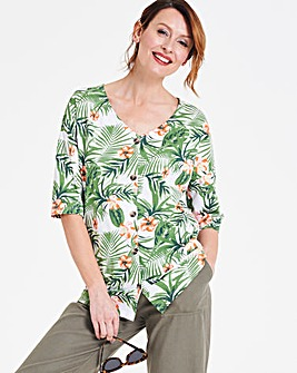 Palm Print Linen Button Down Top