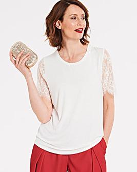 0595713eb1ef82 Ivory Lace Sleeve T-shirt
