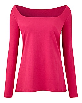 Raspberry Square Neck Long Sleeve Top