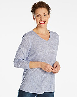 Linen Blend Long Sleeve Top