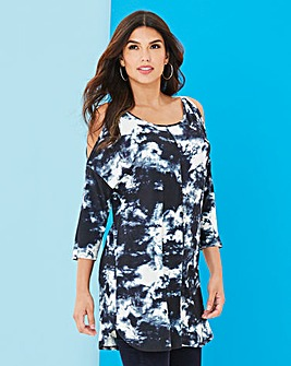 Long Length Tie Dye Cold Shoulder Tunic
