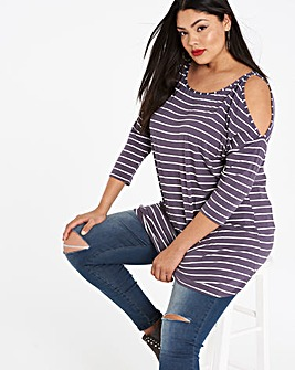 Stripe Cold Shoulder Tunic