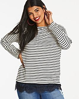 Ivory Stripe Lace Hem Top