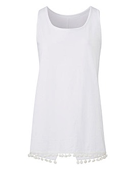 White Cotton Slub Pom Pom Vest