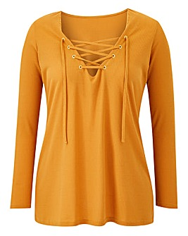 Lace Up Long Sleeve Eyelet Top