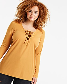 Ochre Lace Up Long Sleeve Eyelet Top