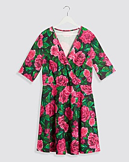 Rose Print Wrap Dress