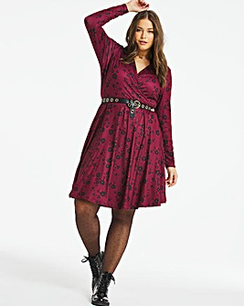 Dark Floral Supersoft Wrap Skater Dress