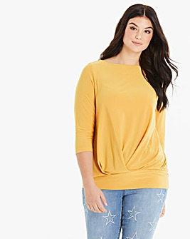 Ochre Pleat Front Hem Top