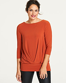 Paprika Pleat Front Hem Top