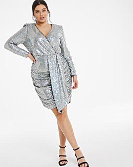 Sequin Wrap Drape Front Dress