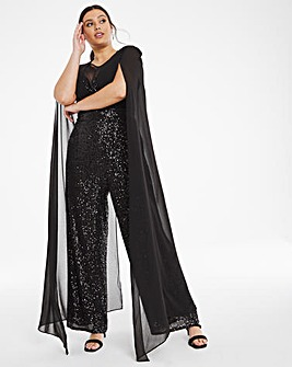 Black Cape Sequinned Trouser Jumpsuit