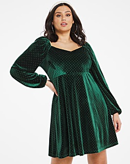 Sweetheart Neck Velour Dress