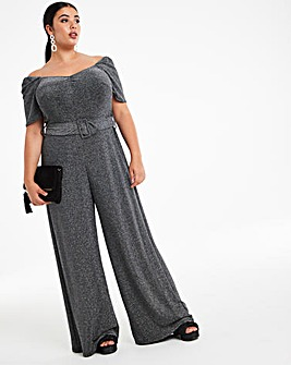 Glitter Knit Sweetheart Neck Jumpsuit