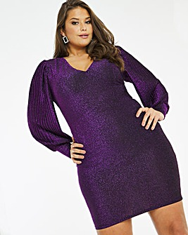 Pleat Sleeve Glitter Knit Bodycon Dress