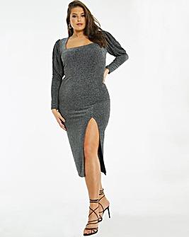 Silver Square Neck Bodycon Dress