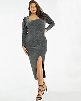 Silver Mutton Sleeve Square Neck Bodycon Dress