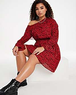 Red Animal One Shoulder Skater Dress