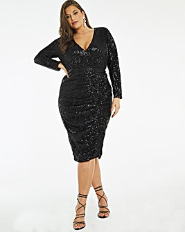 Black Stretch Sequin Bodycon Dress