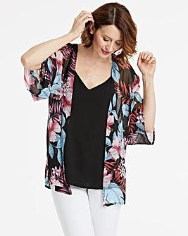 Tropical Print Boxy Kimono