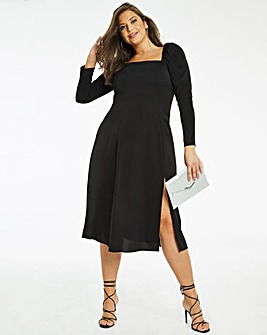 Square Neck Split Front Midi Dress