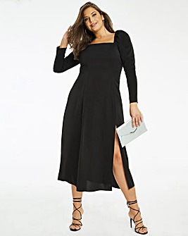 Black Square Neck Split Front Midi Dress