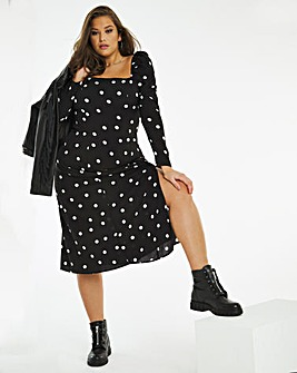Mono Spot Square Neck Split Front Midi Dress