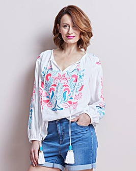 White Embroidered Blouse With Tassels