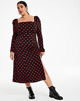 Red Spot Square Neck Split Front Midi Dress