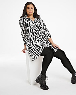 Zebra Drop Hem Button Through Shirt Dress