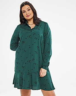 Drop Hem Button Through Shirt Dress