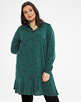 Green Drop Hem Button Shirt Dress