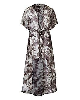 Grey Print Tie Front Kimono