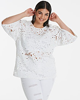 White Heavy Lace Top