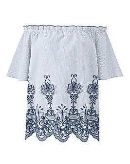 Blue Contrast Embroidery Bardot