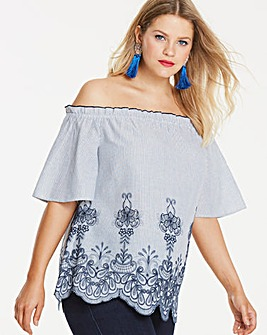 Blue Contrast Embroidery Bardot