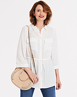 Ivory Utility Blouse With Pockets