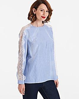 Blue Stripe Lace Panel Sleeve Top