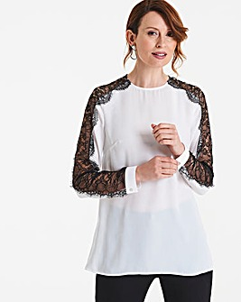 Ivory Lace Panel Sleeve Top