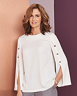 Ivory Button Split Sleeve Top