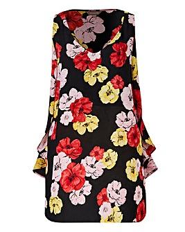 Black Floral Ruffle Side Vest