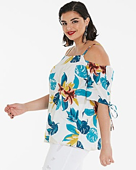 Ivory Tropical Ruched Sleeve Bardot