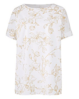 Ivory Print Petite Drop Sleeve Shell Top