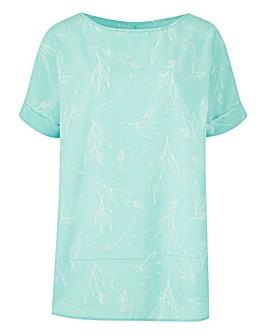 Green Print Petite Drop Sleeve Shell Top