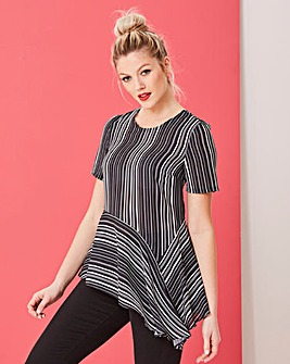 Mono Stripe Asymmetric Blouse